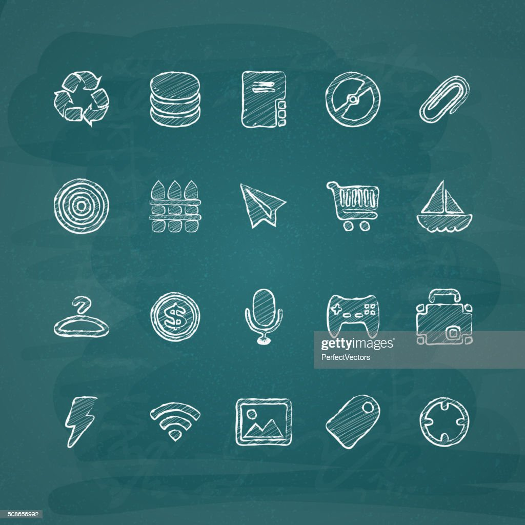 Universal Chalk Icons in doodle style 4 : Vector Art
