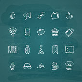Universal Chalk Icons in doodle style 7