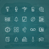 Universal Chalk Icons in doodle style 8