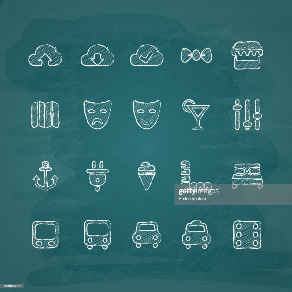 Universal Chalk Icons in doodle style 9 : Vector Art