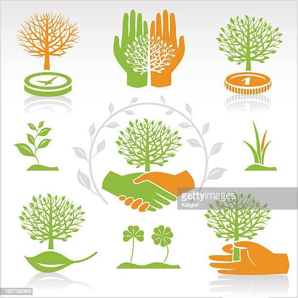 ilustrações de stock, clip art, desenhos animados e ícones de universal ambientais símbolos - desmatamento