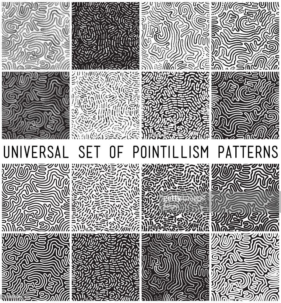 Universal geometric striped dotted seamless pattern set