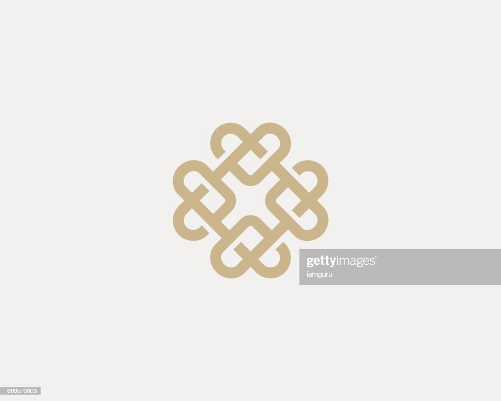 Universal heart ornament logotype. Abstract line creative logo icon design.