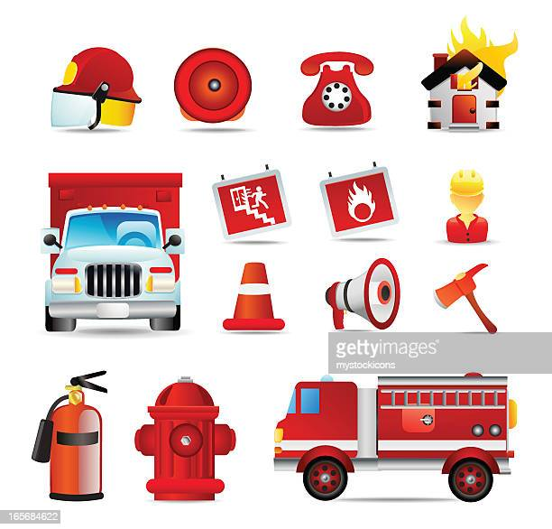 universal icons | fire fighter - safety equipment stock illustrations, clip art, cartoons, & icons