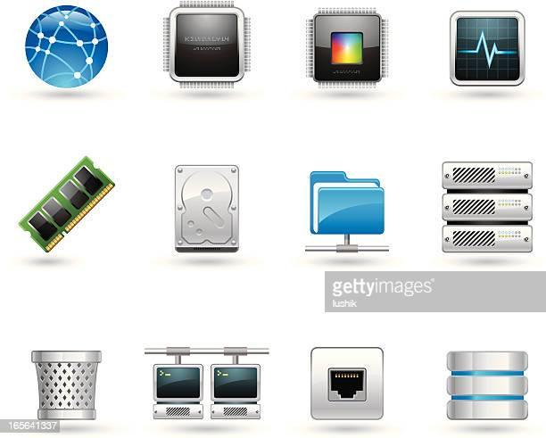 universal icons - hosting - hard drive stock illustrations