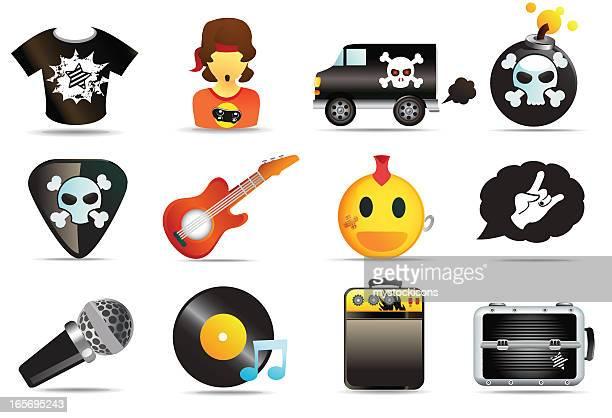 ilustrações, clipart, desenhos animados e ícones de universal ícones de música rock and roll - violão
