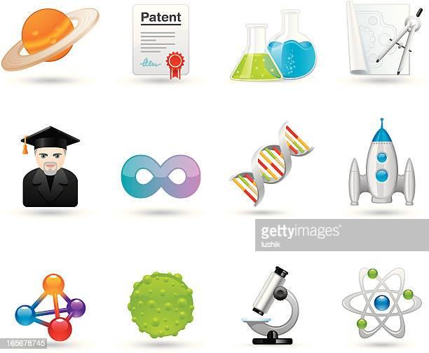 universal icons - science - nanotechnology stock illustrations