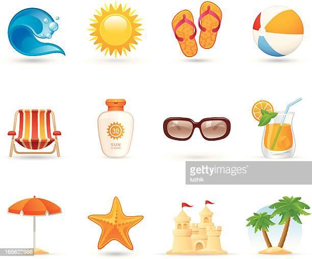 illustrations, cliparts, dessins animés et icônes de icônes universelles-soleil, mer et sable - parasol de plage