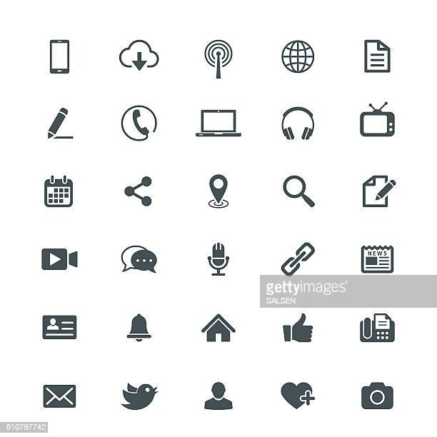 universal internet icon collection - video camera stock illustrations, clip art, cartoons, & icons