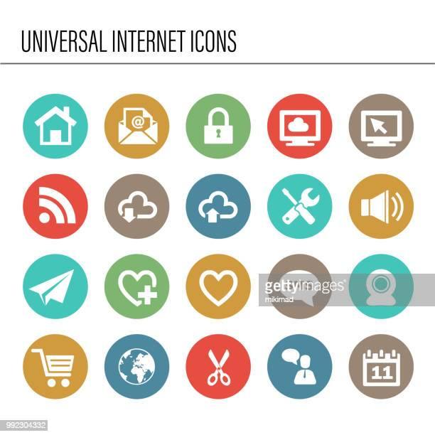 Conjunto de iconos de internet universal