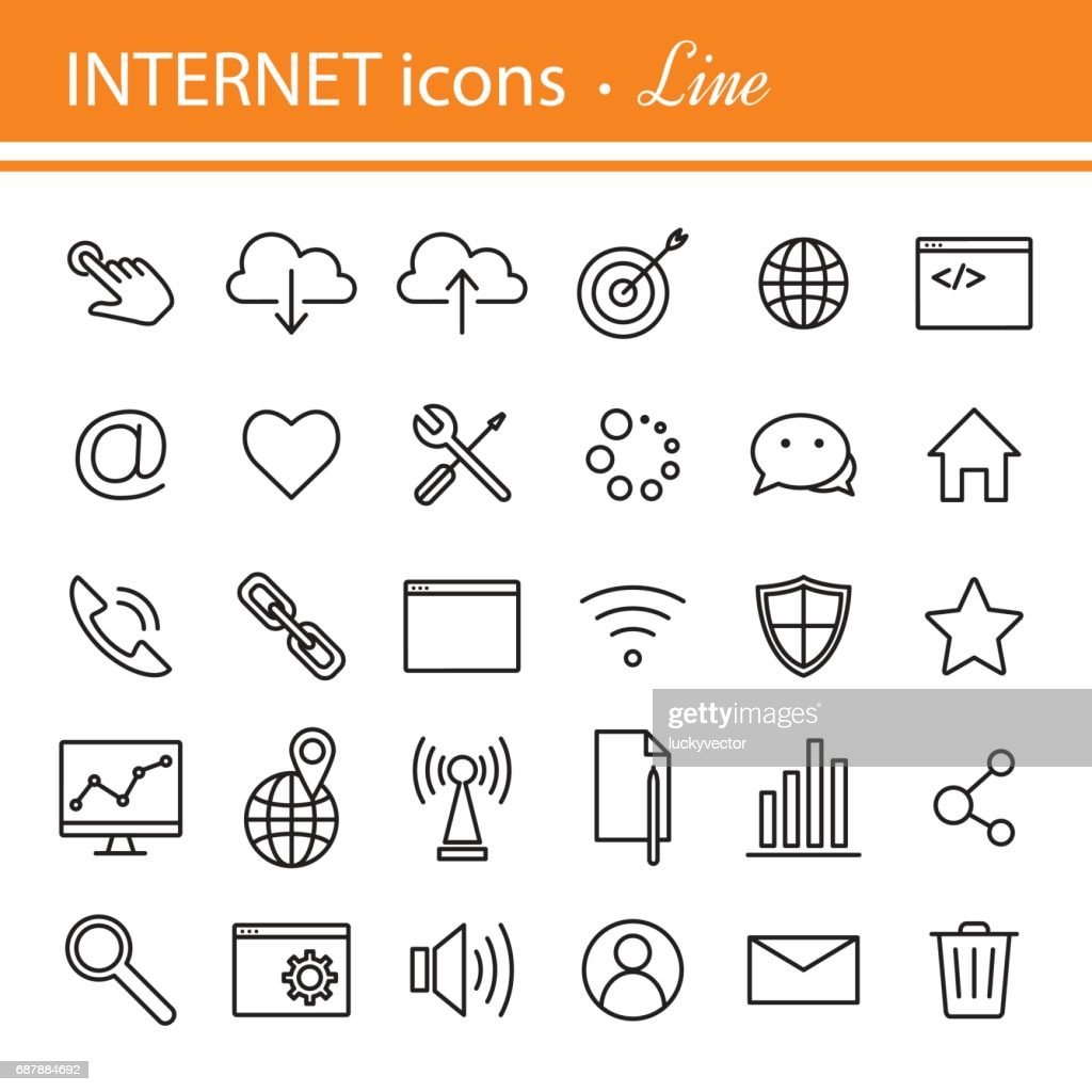 Universal internet icon to use in web and mobile UI, set of basi