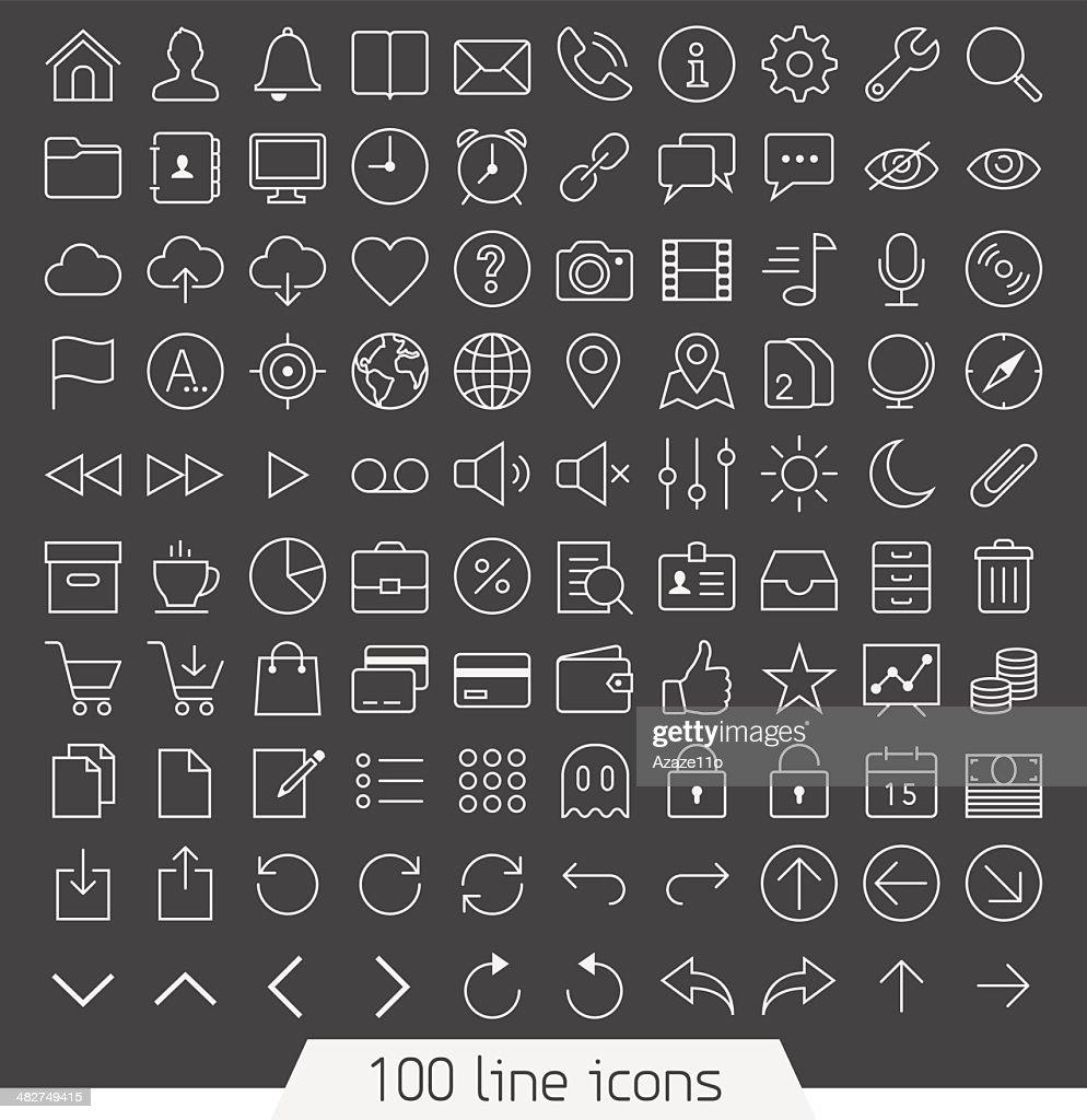 Universal line icon set.