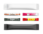 Universal mockups of blank packaging sticks with examples.