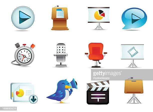 universal präsentation symbole - bildschirmpräsentation stock-grafiken, -clipart, -cartoons und -symbole
