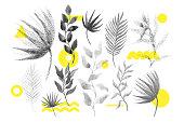Universal trend halftone floral shapes set