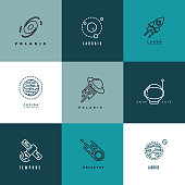 Universe astronomy thin line vector icons and labels set