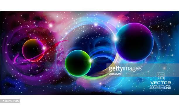 ilustraciones, imágenes clip art, dibujos animados e iconos de stock de universo banner de fondo para - galaxiaespiral
