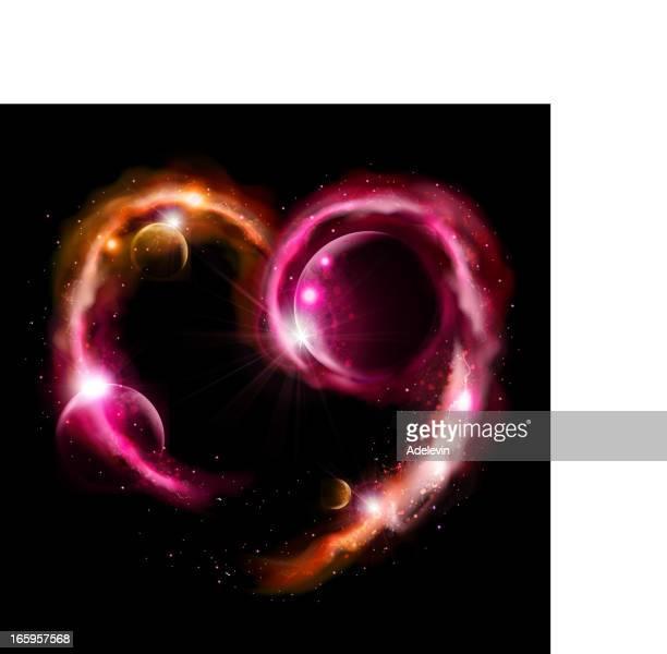 universe herz-symbol - orbiting stock-grafiken, -clipart, -cartoons und -symbole