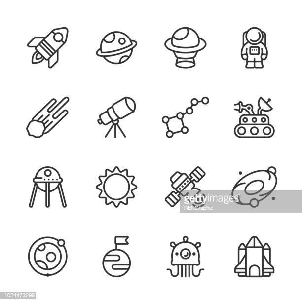 ilustraciones, imágenes clip art, dibujos animados e iconos de stock de universo y espacio contorno iconos de viaje - astronauta