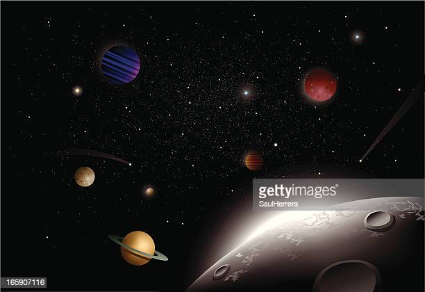 universe view from the moon - planet space stock illustrations