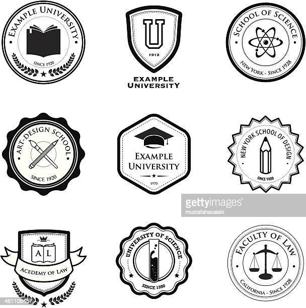 university and education badges - badge stock illustrations