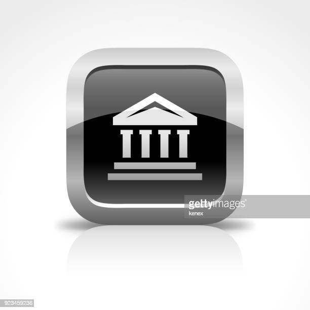 university building glossy button icon - classical theater stock illustrations