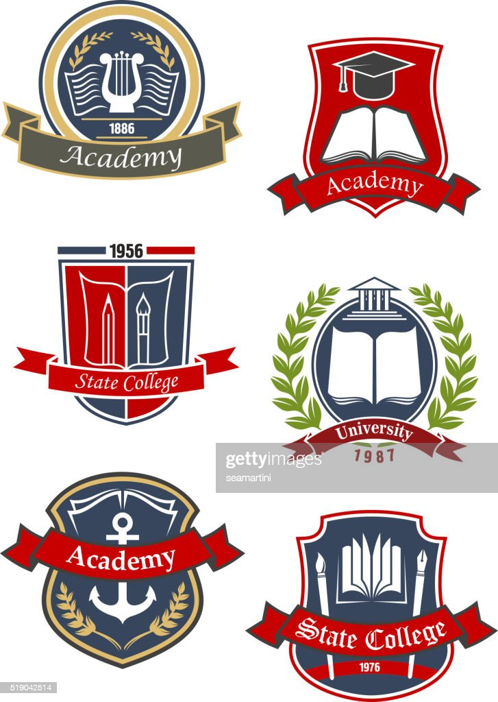University, college and academy emblems