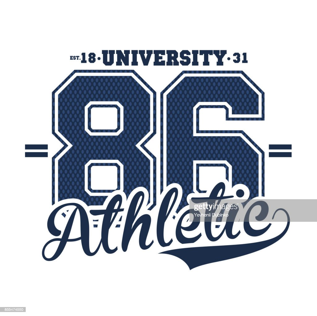 University, college typography, t-shirt graphics for apparel. Athletic wear