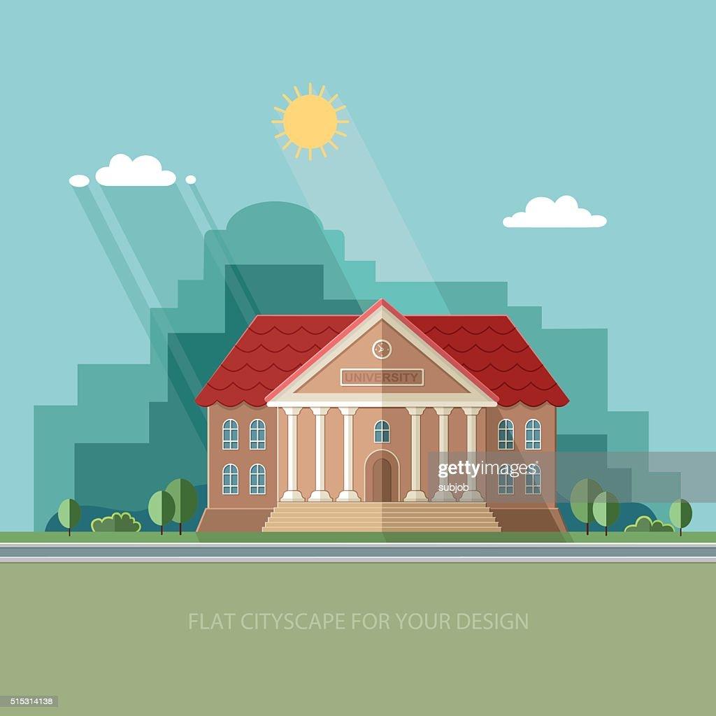 University on the city background. College School. Flat vector illustration.