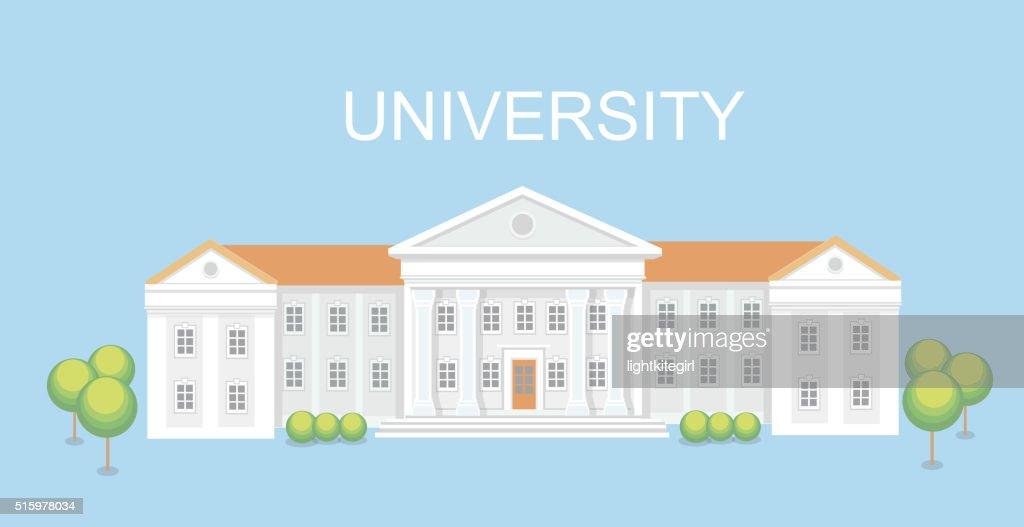 University or college building. Campus design, graduation university, vector