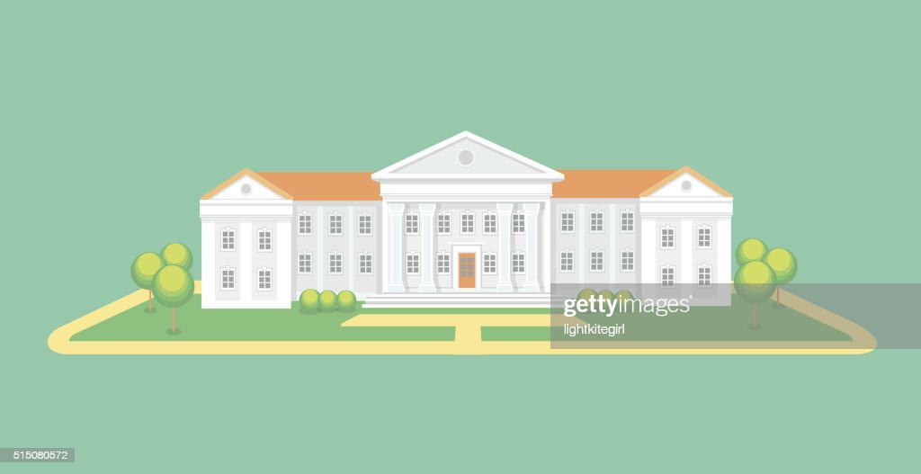 University or college building.  Campus graduation university, Education vector illustration