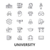 University, science, students, education, graduation, campus, study, knowledge line icons. Editable strokes. Flat design vector illustration symbol concept. Linear isolated signs