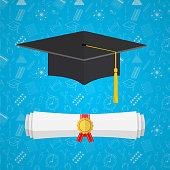 University student cap and diploma