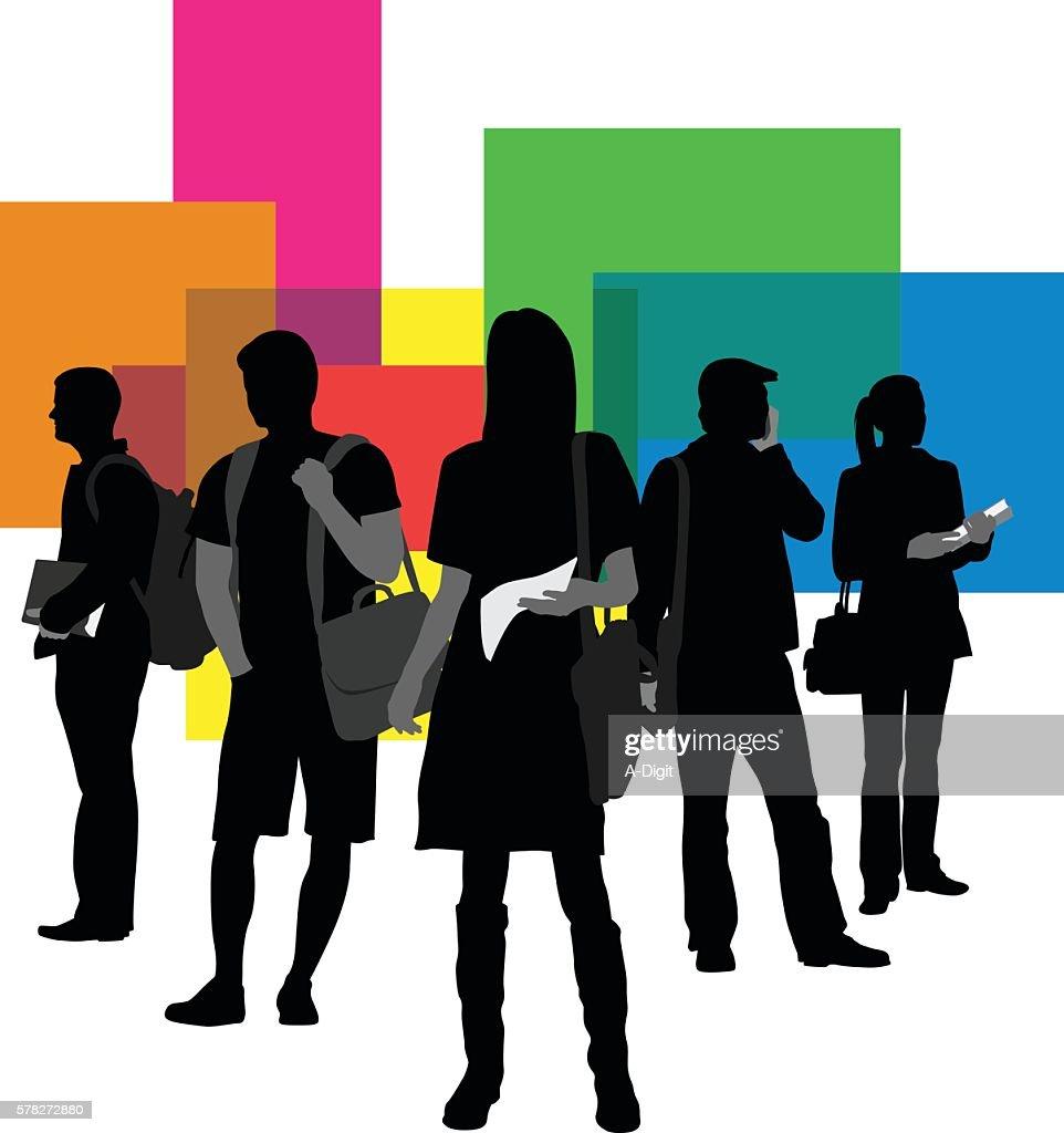 University Student Groups : stock illustration