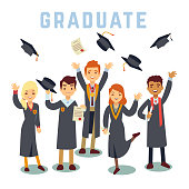 University young graduate students. Graduation and education vector concept