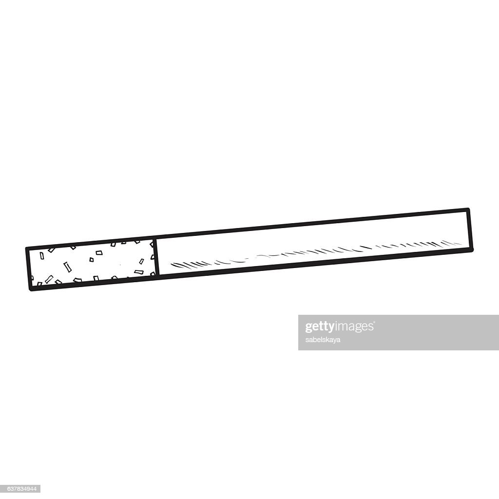 Unlit cigarette with yellow filter, side view, sketch vector illustration