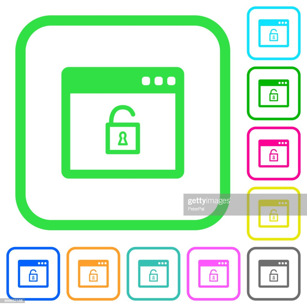 Unlock application vivid colored flat icons icons
