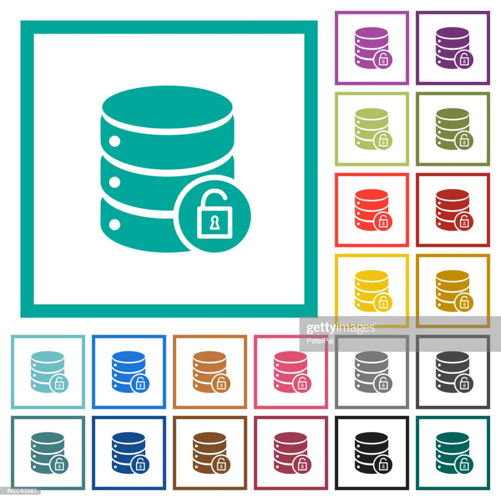 Unlock database flat color icons with quadrant frames