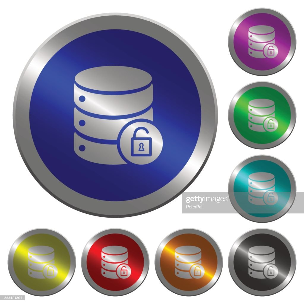 Unlock database luminous coin-like round color buttons