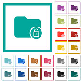 Unlock directory flat color icons with quadrant frames