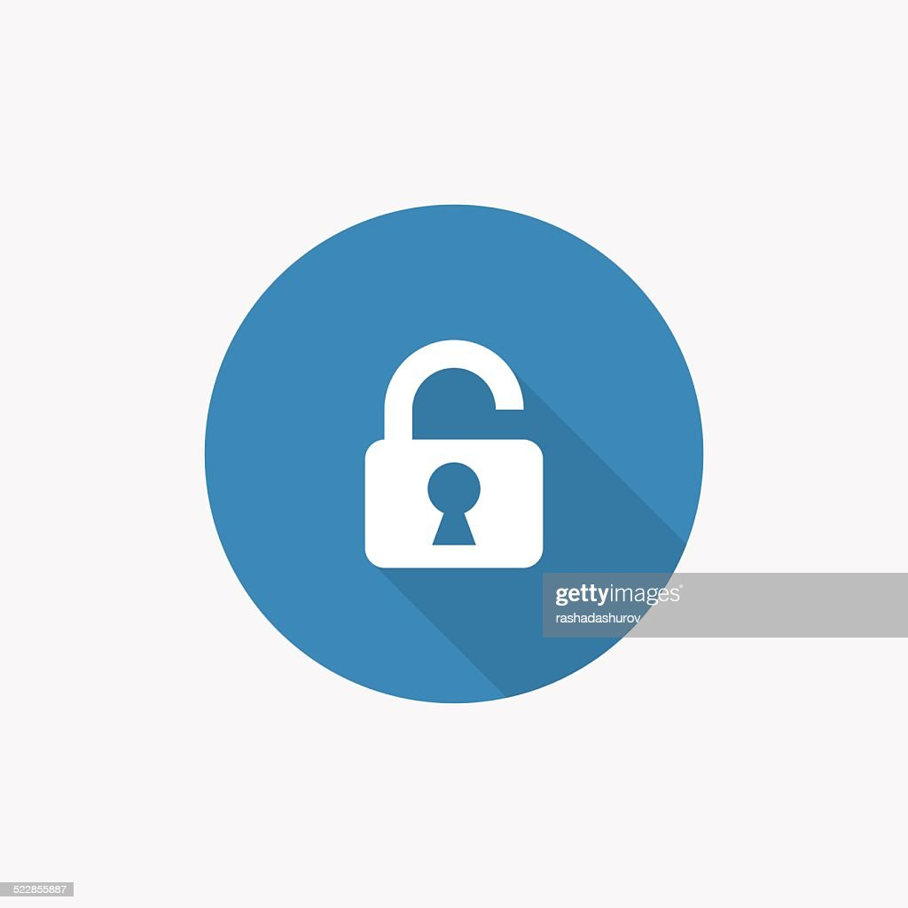 unlock Flat Blue Simple Icon with long shadow