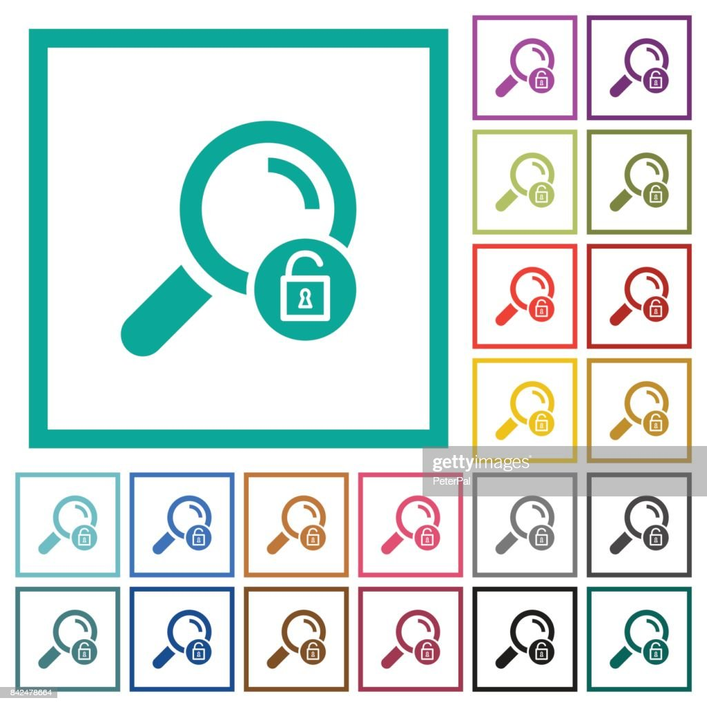 Unlock search flat color icons with quadrant frames