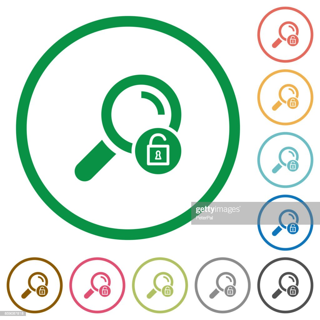 Unlock search flat icons with outlines