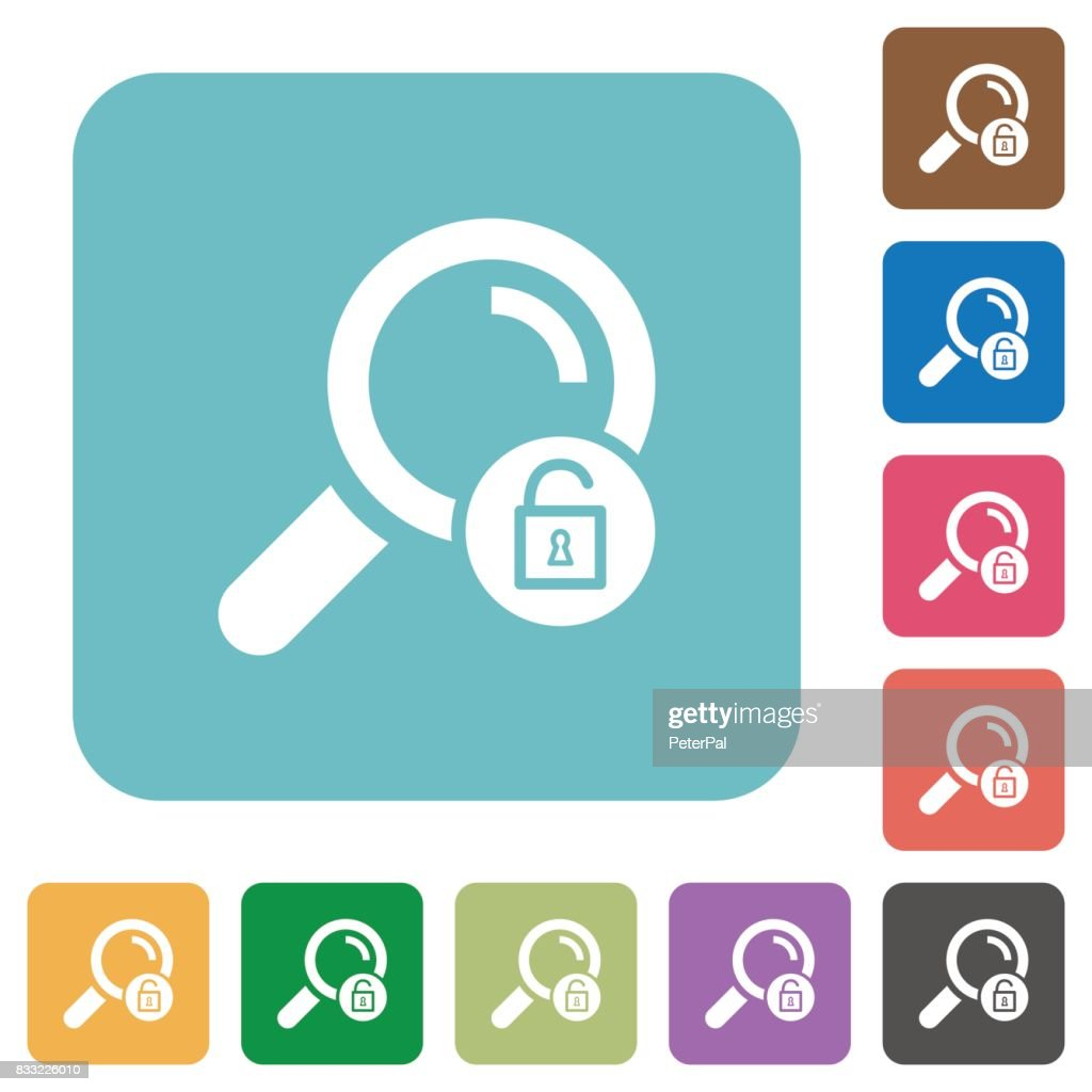 Unlock search rounded square flat icons