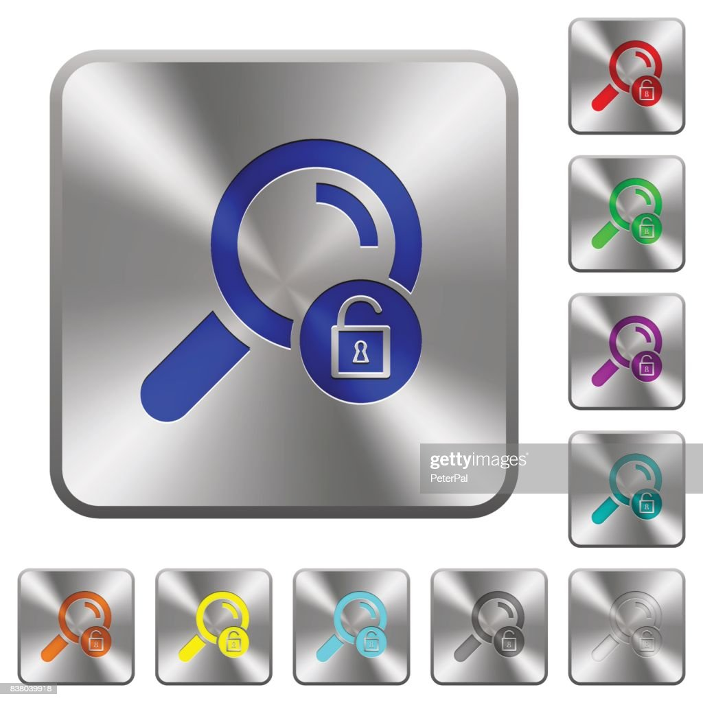 Unlock search rounded square steel buttons