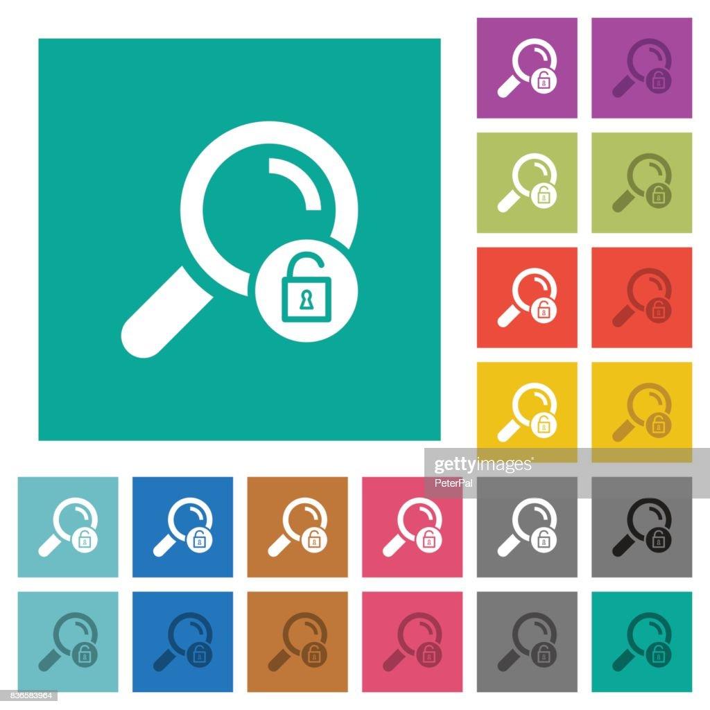 Unlock search square flat multi colored icons