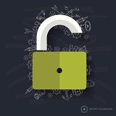 Unlock symbol design on blackboard background,clean vector