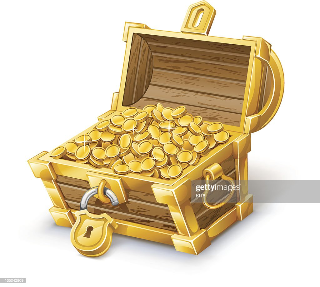 Unlocked brown treasure chest full of gold coins