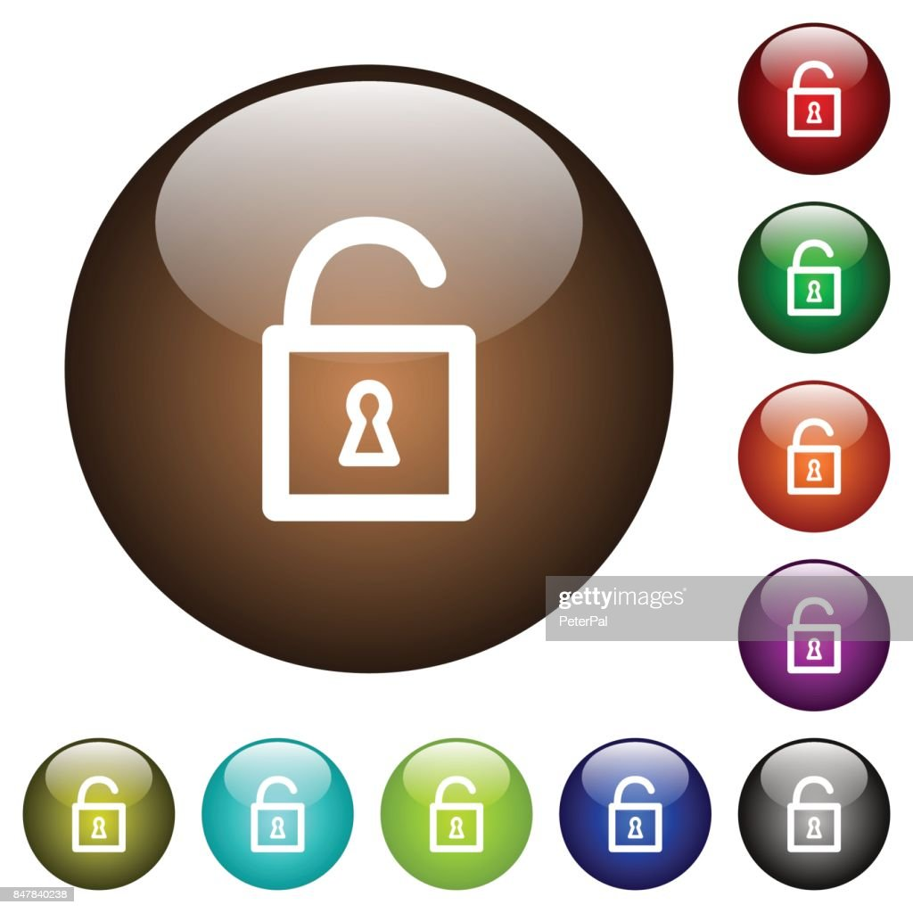 Unlocked padlock color glass buttons