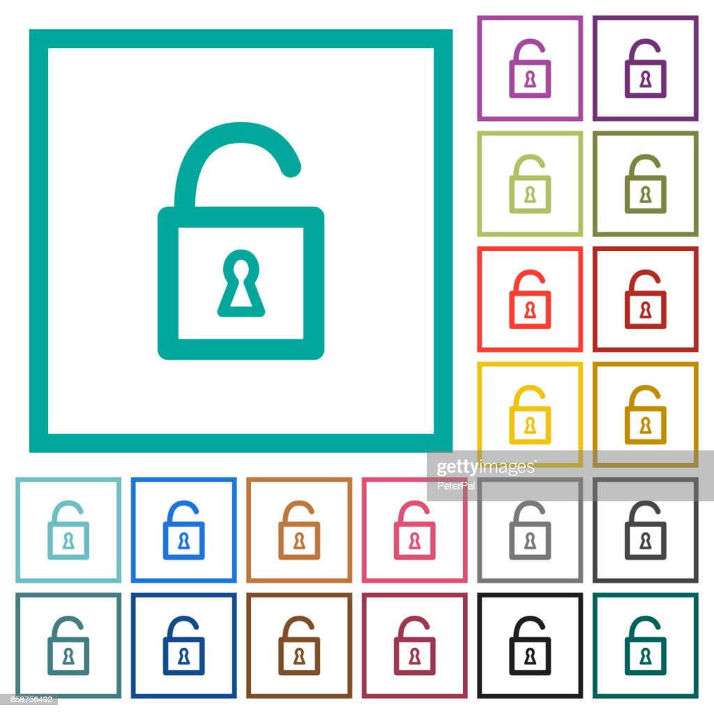 Unlocked padlock flat color icons with quadrant frames
